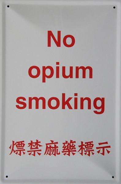 Plechová cedulka No opium smoking
