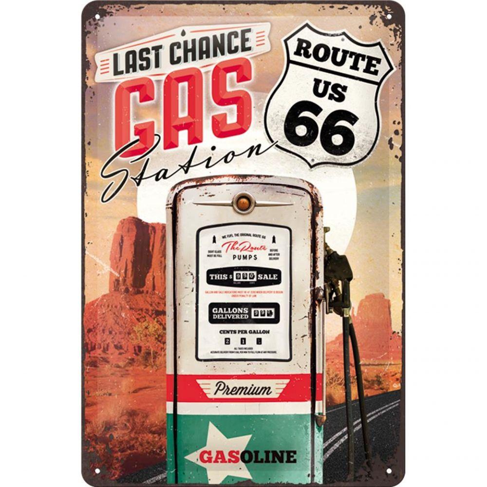 Plechová cedule Gas Route 66