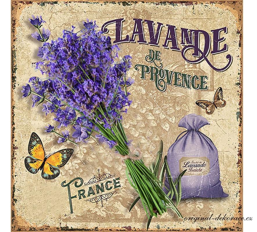 Plechová cedule Levandule - Lavande provencale France