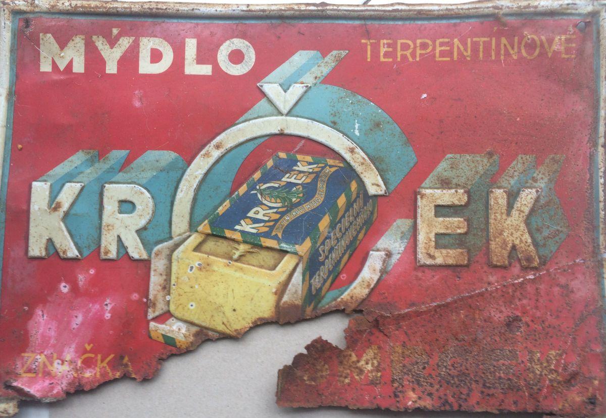 Originální starožitná cedule - Mýdlo Krček