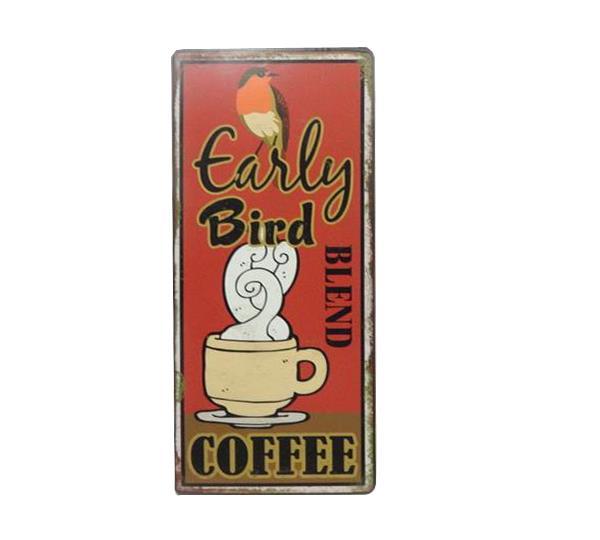 Plechová cedule káva - Early bird coffee