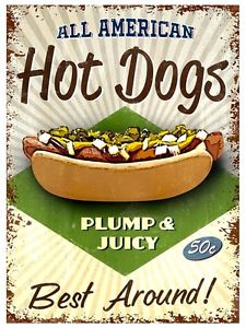 Plechová cedule All American Hot Dogs