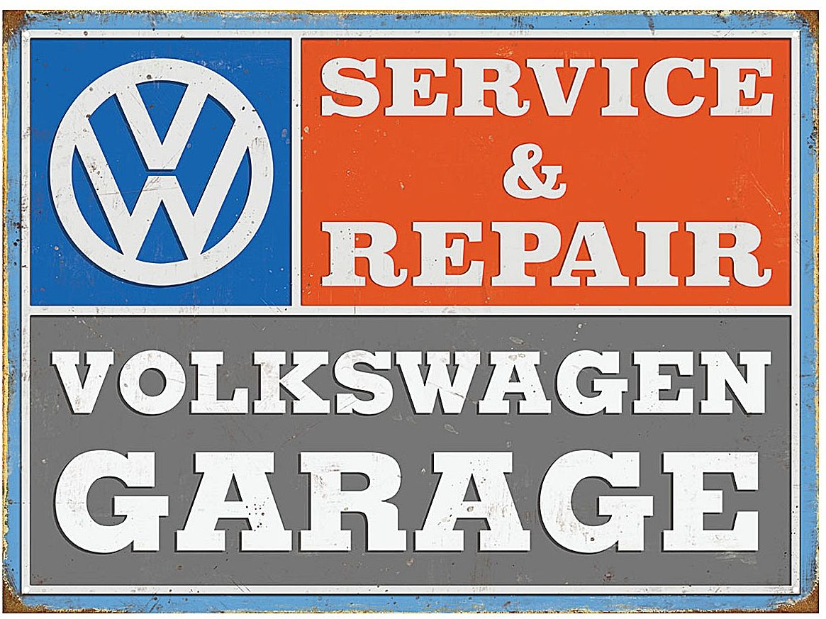 Plechová cedule Volkswagen GARAGE - Service & Repair