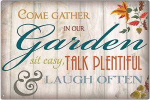Plechová cedule Come gather in our Garden