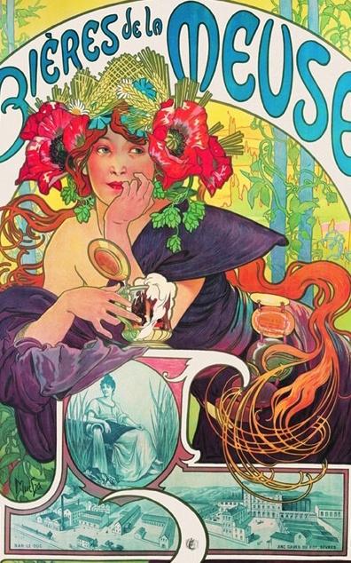 Plechová retro cedule Alfons Mucha Bieres - pivo