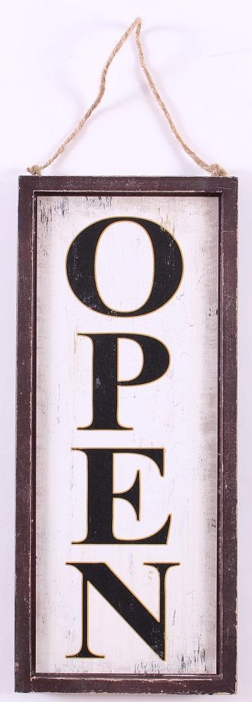 Dřevěná oboustranná cedule Open - Closed