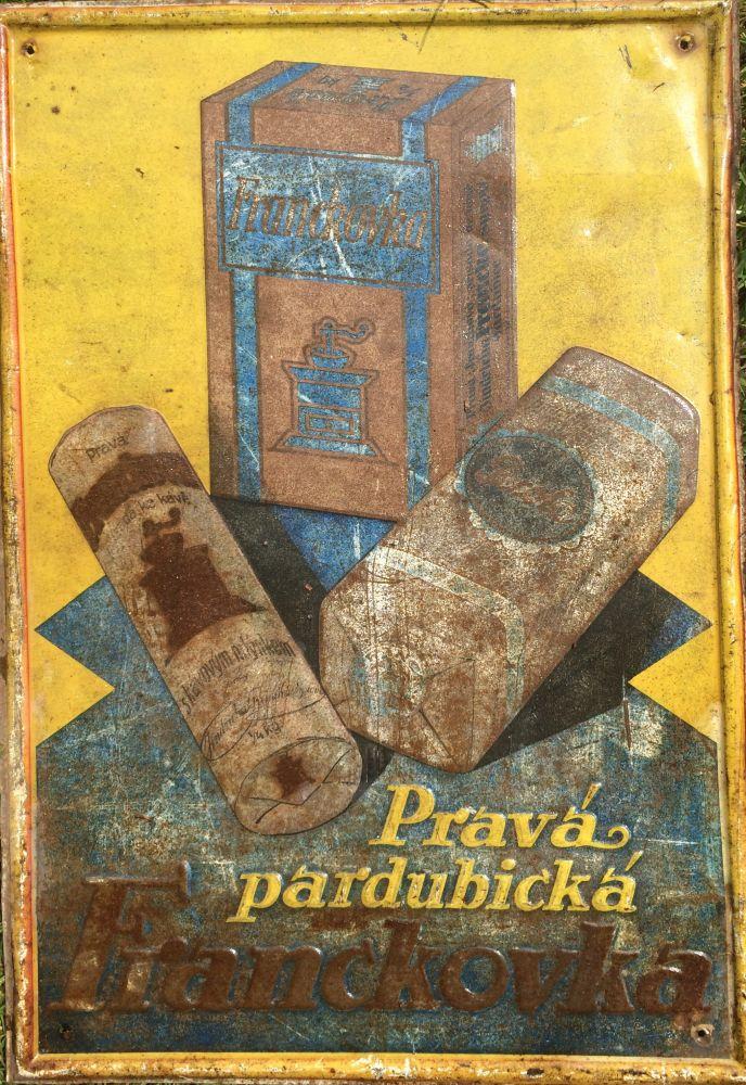 Originální starožitná plechová cedule Pravá pardubická Frankovka