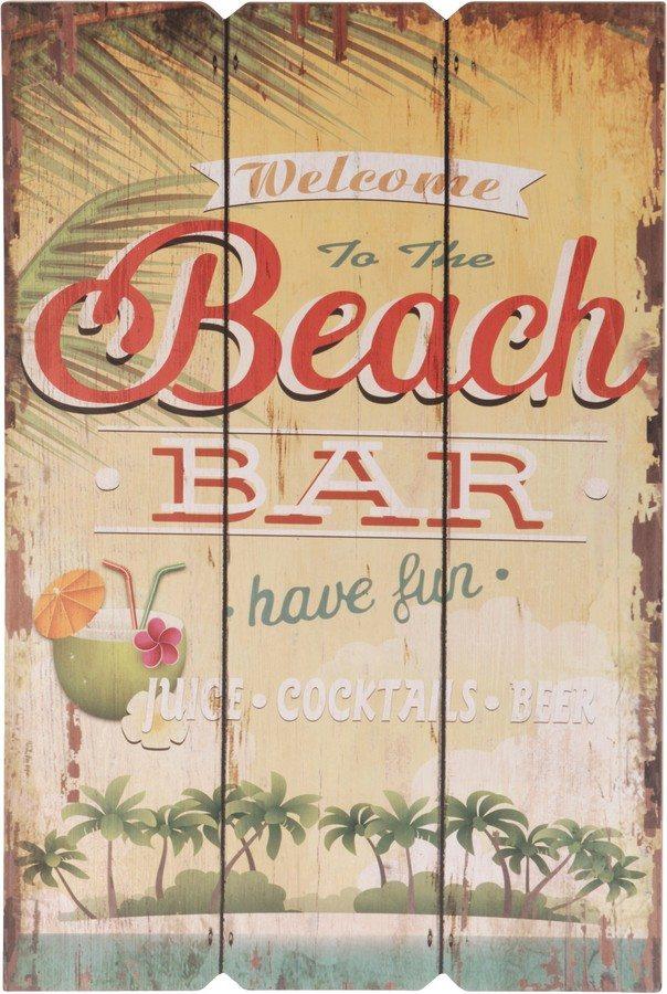 Dřevěná cedule Welcome to the Beach bar have fun