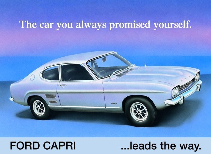 Plechová retro cedule Ford Capri The car you always promised yourself