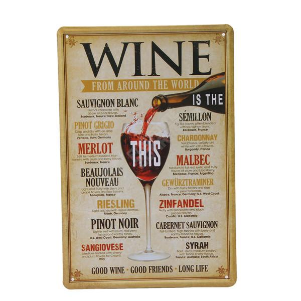 Plechová cedule Wine from around the world