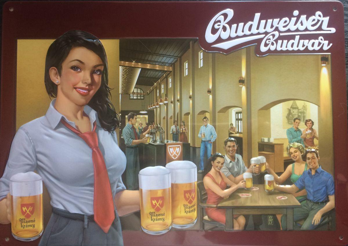Plechová cedule Budweiser Budvar Masné krámy - pivo