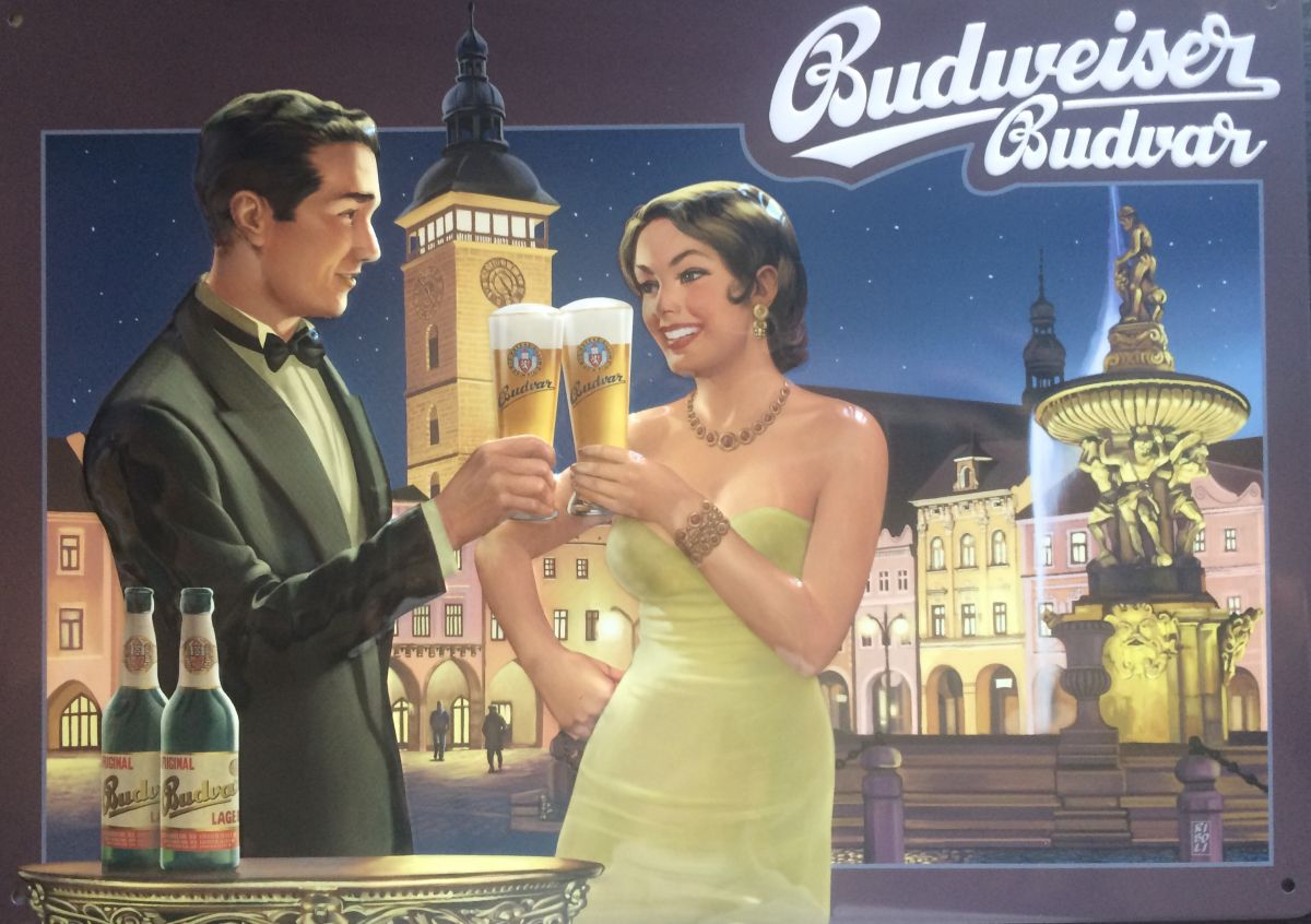 Plechová cedule Budweiser Budvar České Budějovice - pivo