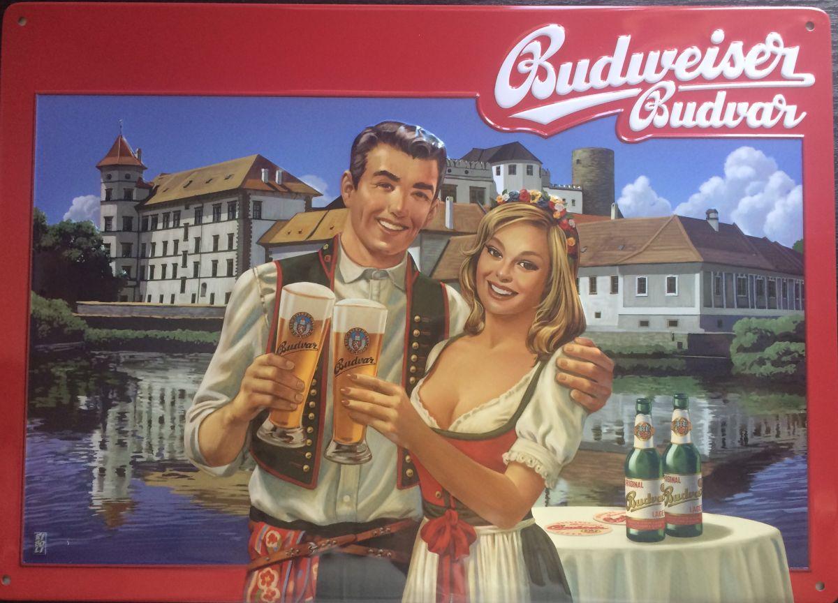 Plechová cedule Budweiser Budvar Jindřichův Hradec - pivo