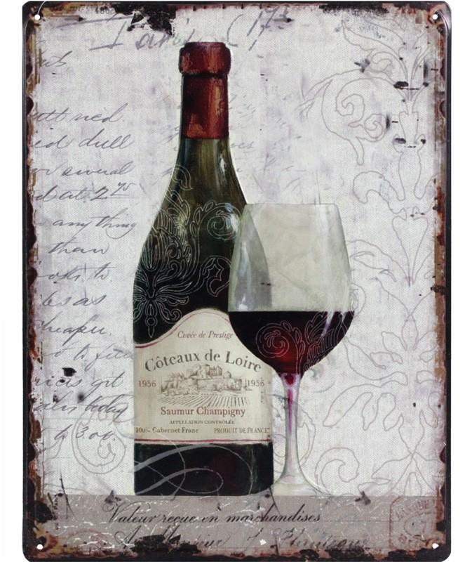 Plechová vintage cedule Červené víno Coteaux de Loire