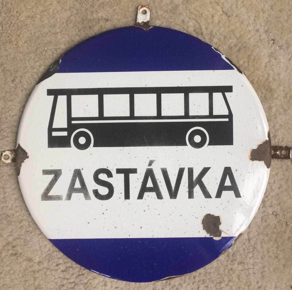 Originální smaltovaná cedule Zastávka autobus