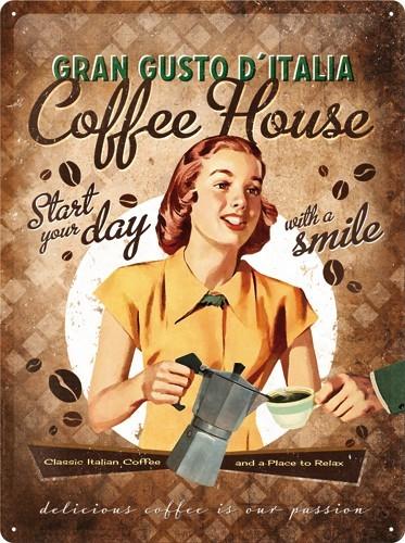 Plechová cedule káva Coffee lady house