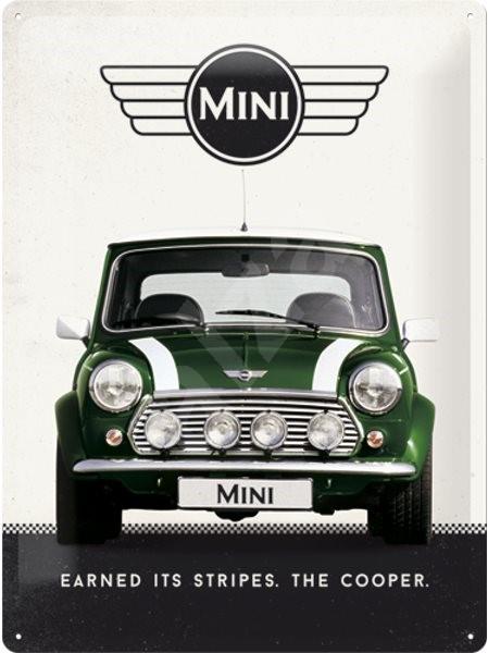 Plechová cedule Mini cooper zelený