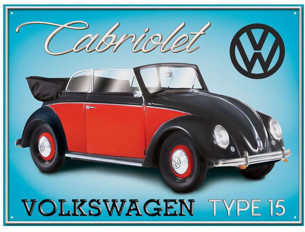 Plechová retro cedule Volkswagen Beetle Type 15 - Brouk červený