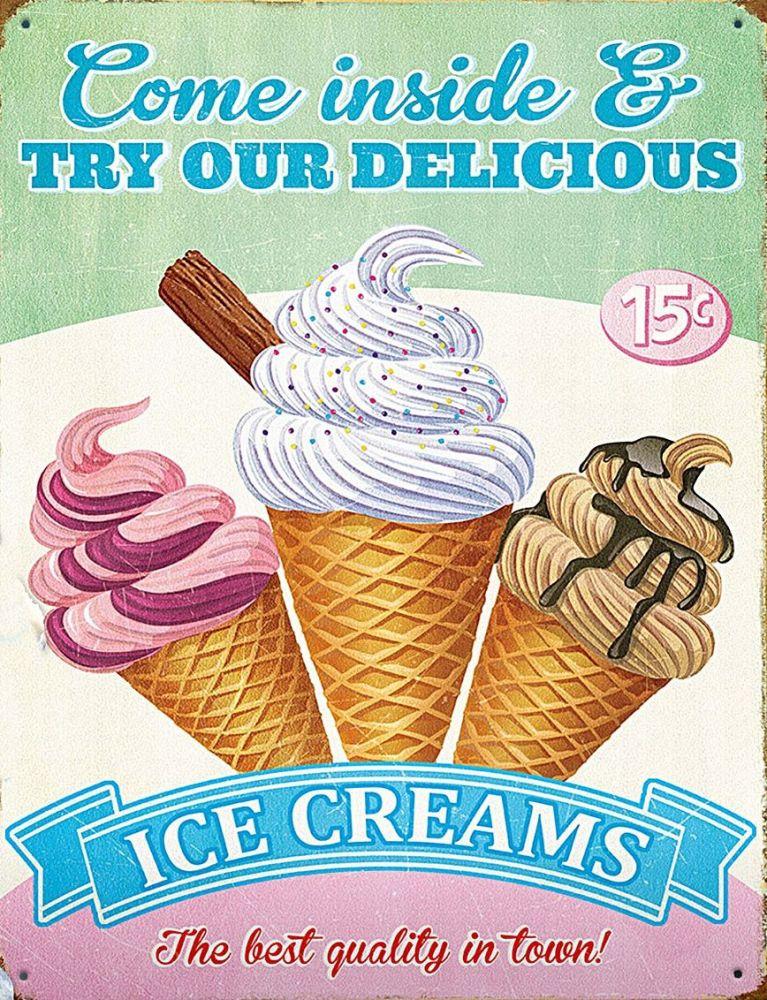 Plechová cedule Ice cream -Zmrzlina nejlepší kvalita ve městě