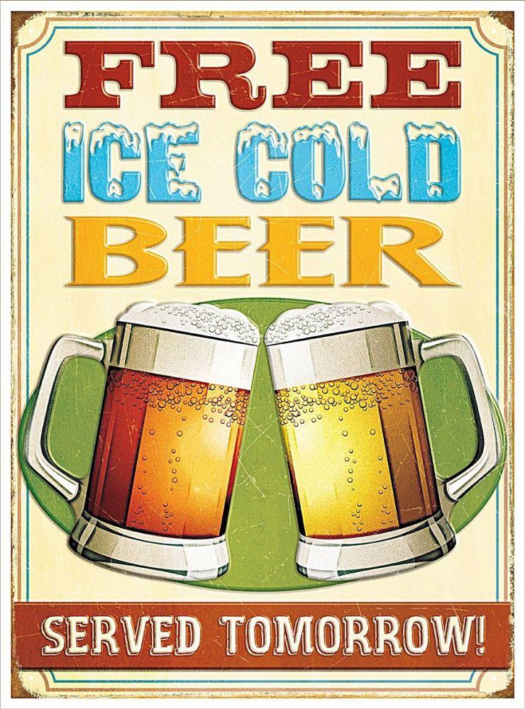 Plechová retro cedule pivo - Free ice cold beer Student pivo zdarma!