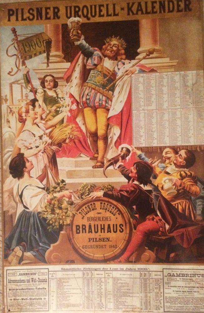 Originální plechová cedule Kalendář 1900 Pilsner Urquel