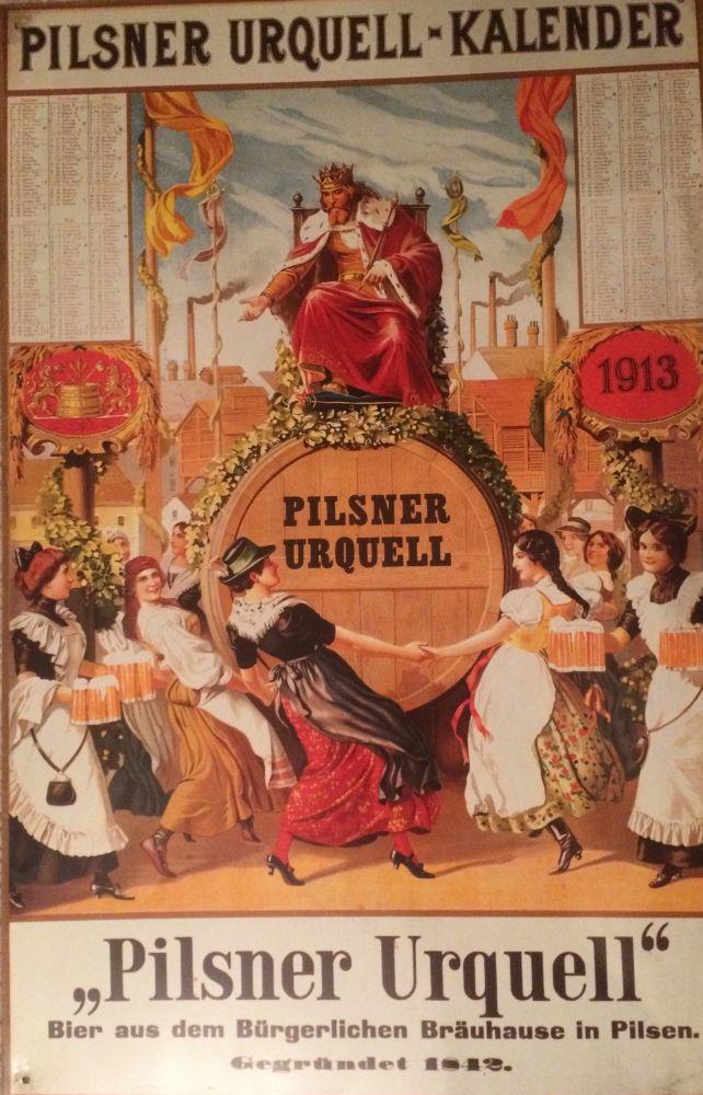 Originální plechová cedule Kalendář 1913 Pilsner Urquel