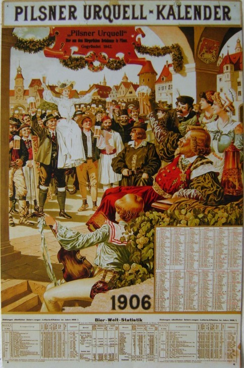Originální plechová cedule Kalendář 1906 Pilsner Urquel