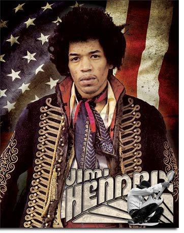 Plechová cedule Jimi Hendrix