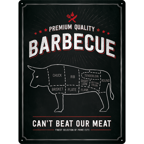 Plechová cedule Barbecue premium quality Can't beat our meat