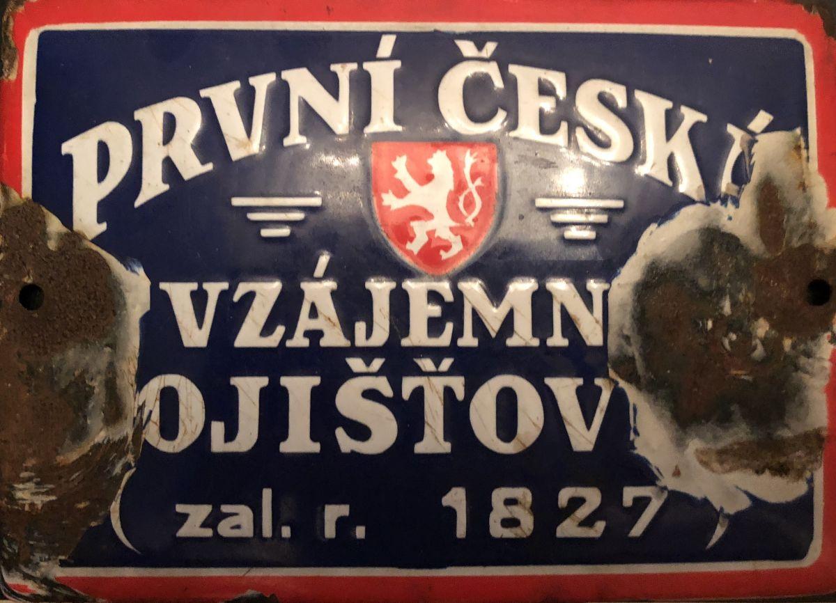 Originální smaltovaná cedule První česká vzájemná pojišťovna