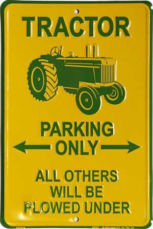 Plechová cedule Tractor Parking Only žlutá
