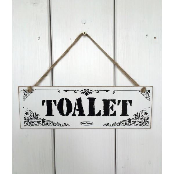 Dřevěná cedule na dveře - tabulka Toalet