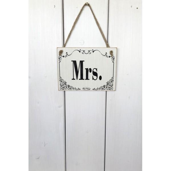Dřevěná cedule na dveře - tabulka Mrs.