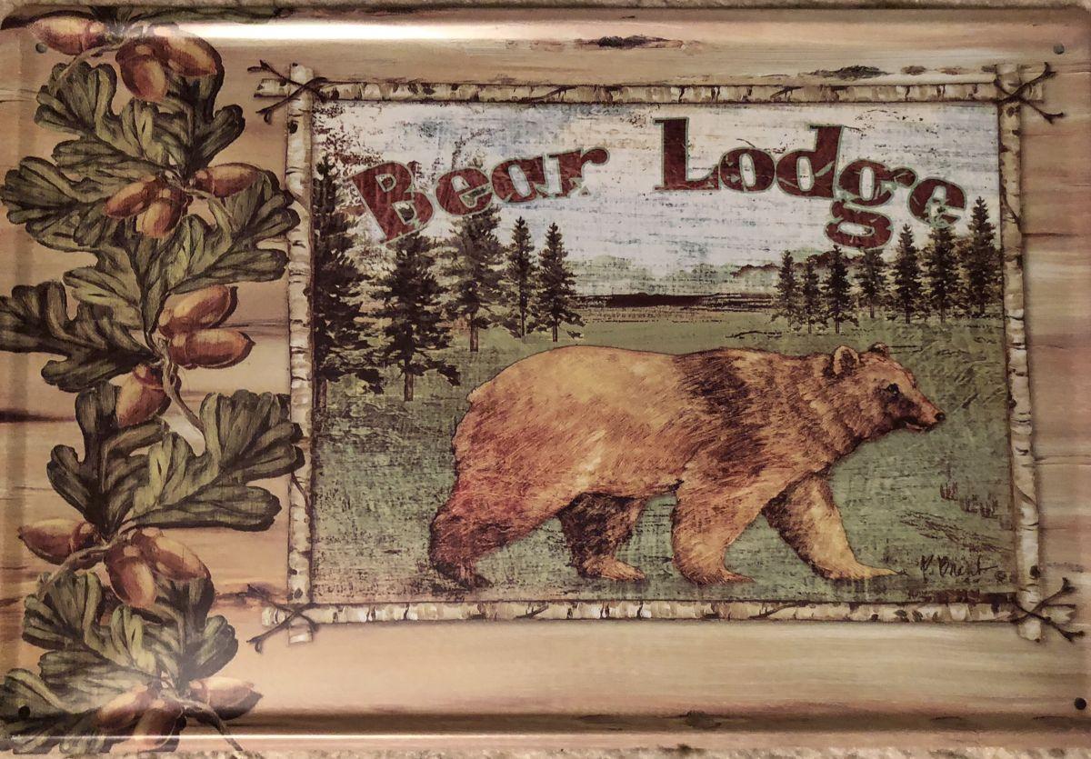 Plechová cedule Bear lodge - medvěd