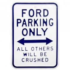 Plechová cedule Ford parking only - červená