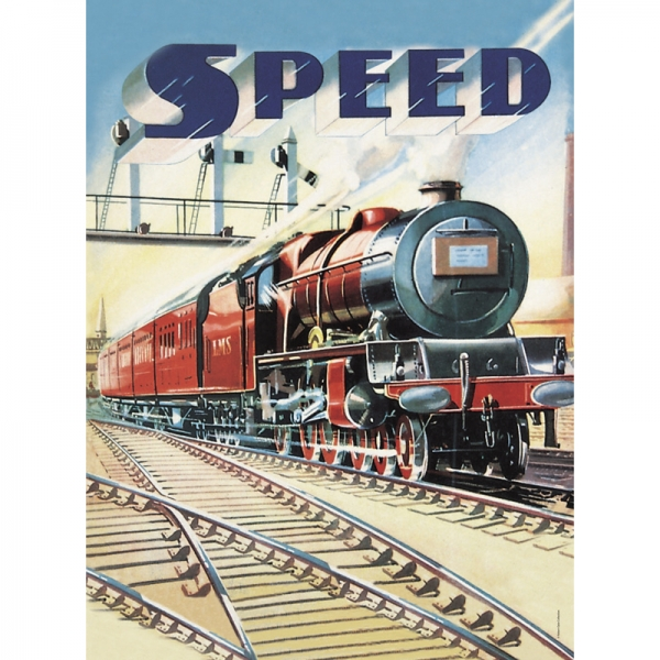 Plechový magnet vlak Speed train - vlak