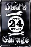 Plechová cedule Dad's garage Open 24h Dědečkova garáž otevřena 24h