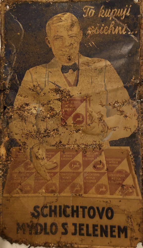 Originální plechová cedule Schichtovo mýdlo s jelenem