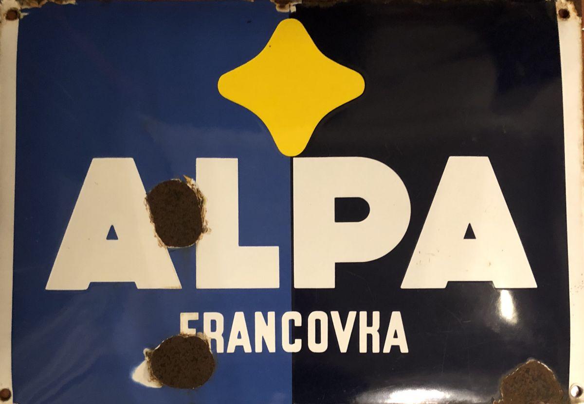Originální smaltovaná cedule Alpa