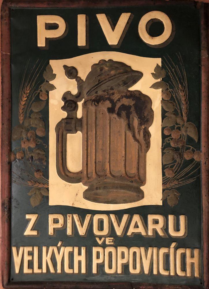 Originální plechová cedule Pivo z pivovaru ve Velkých popovicích