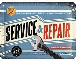 Plechová cedule Service & Repair
