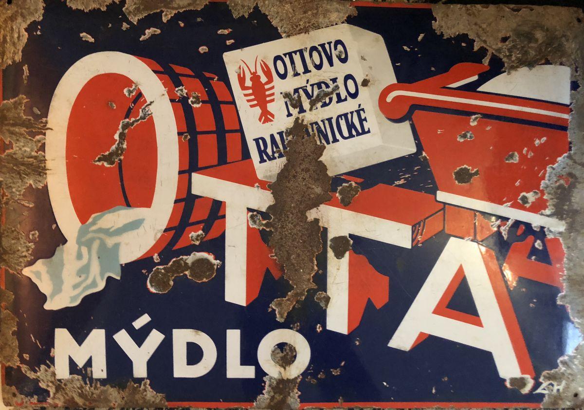 Originální Smaltovaná maxi cedule Ottovo mýdlo Rakovnické - Otta mýdlo