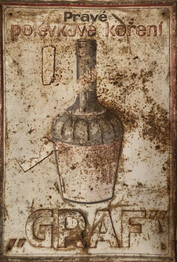 Starožitná originální plechová cedule Graf - polévkové koření