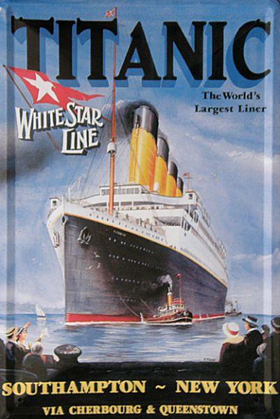 Plechová cedulka loď Titanik