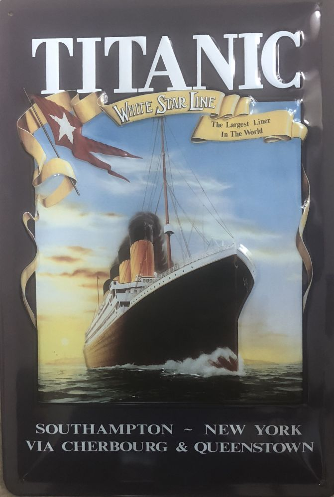 Plechová cedule loď Titanik White star line
