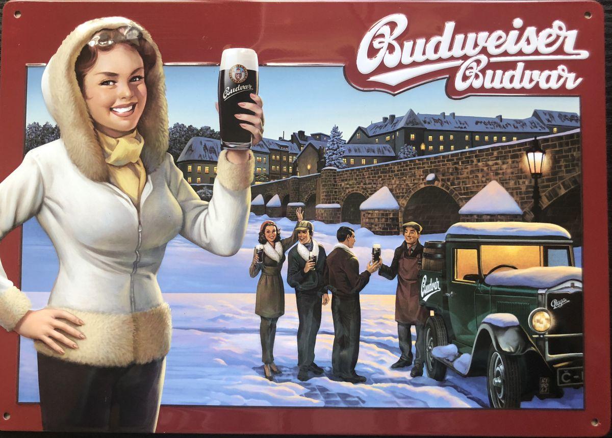 Plechová cedule Budweiser Budvar Písek - pivo