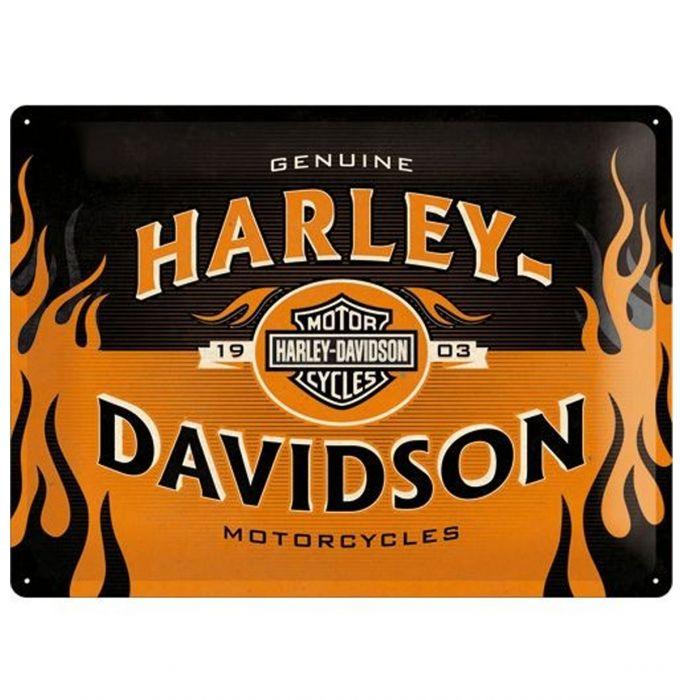 Plechová cedule moto Harley Flames