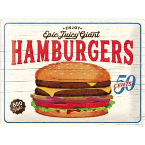 Plechová cedule Epic juice giant Hamburgers