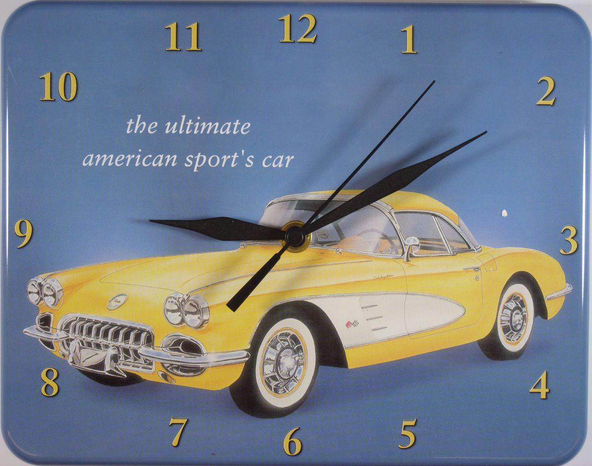 Plechové hodiny Corvette