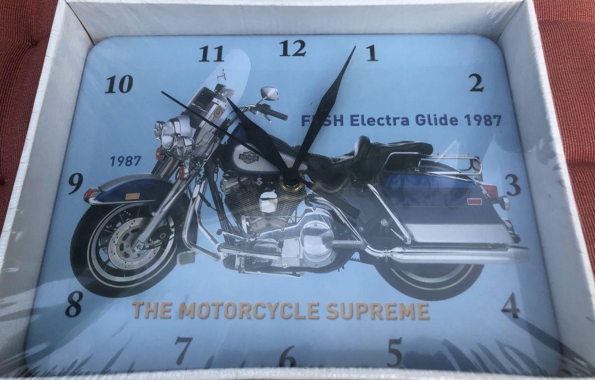 Plechové hodiny motorka FLSH Electra Glide 1987